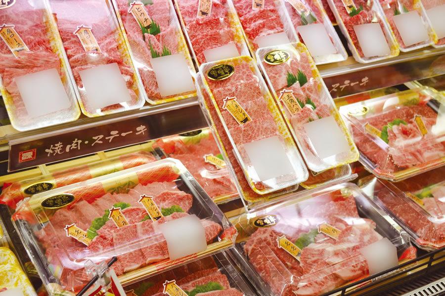 高級部位の特徴を見える化し、華やかなリニューアルの売り場に肉札Mシリーズで高級感を演出!
